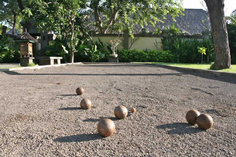 The petanque court in the front garden