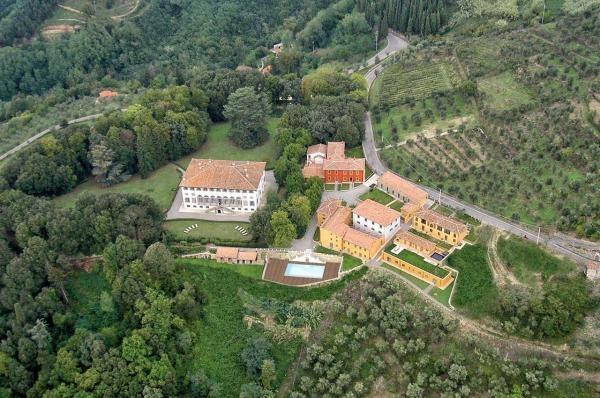 Ariel view of Villa Guinigi and villa Borgo with outdoor pool
