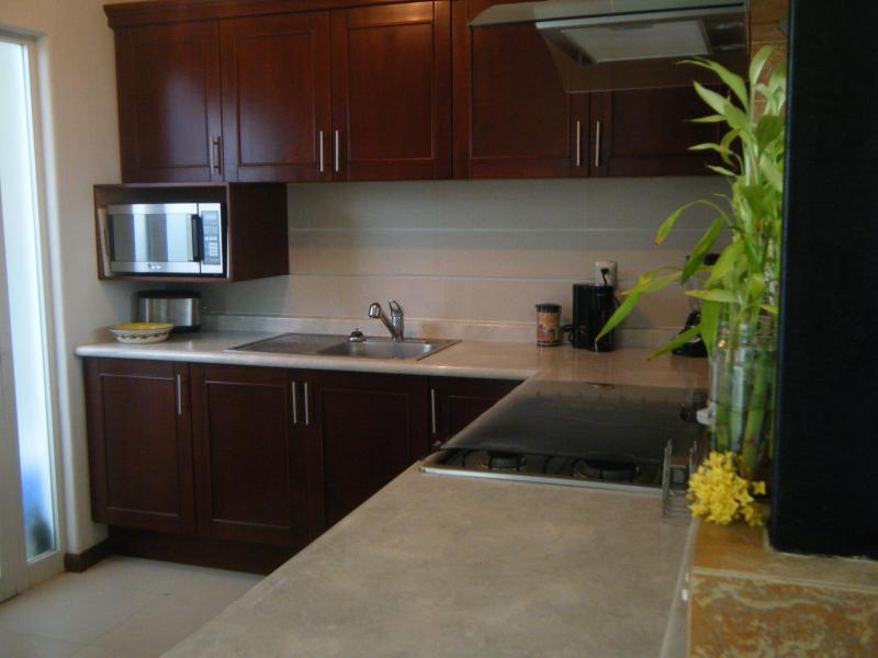 cocina completa con estufa de gas, microondas, etc.