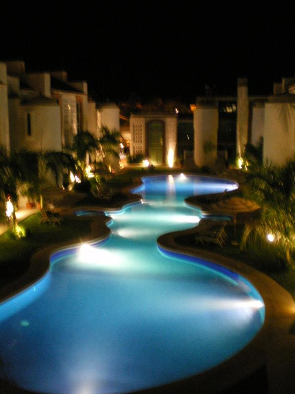 Gorgeous view of the pool at night