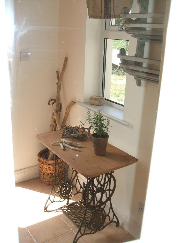Entrance Hall & antique sewing table. Singer Sewing table conversion. Just the business.