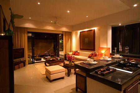 Blick vom Blick in Wohnzimmer Küche