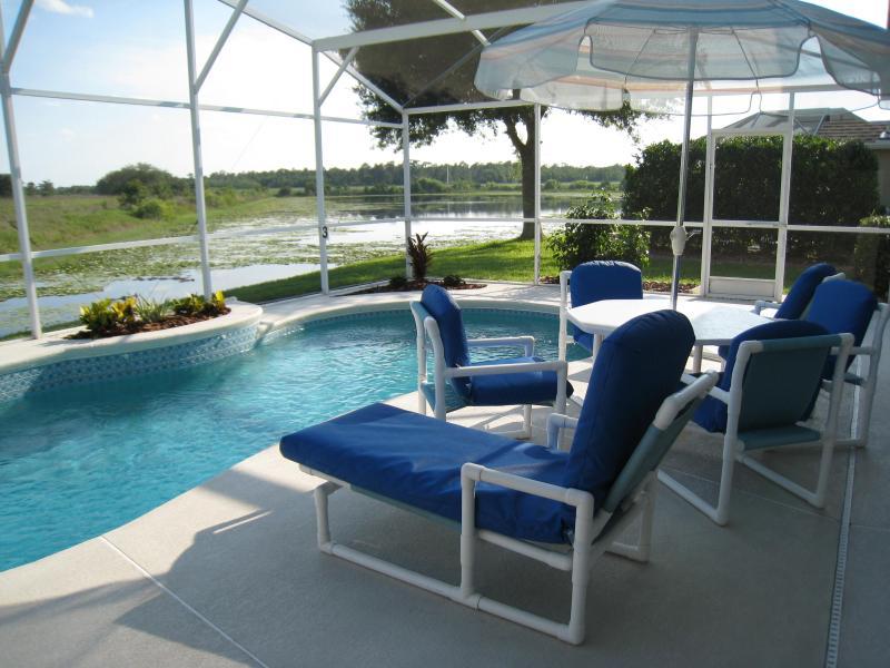 Pool area overlooking a lake