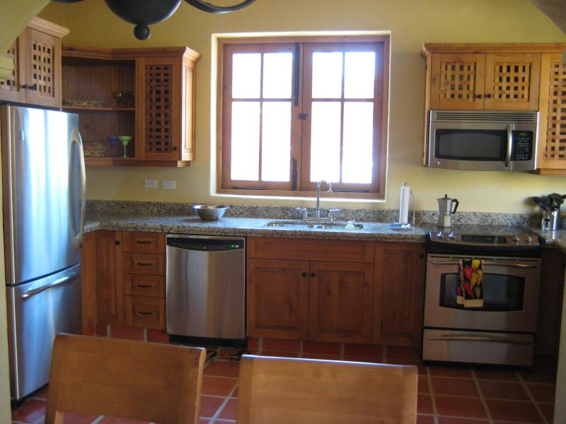 State-of-the-art, stainless kitchen with mountian views from the window, and all a chefs' desires