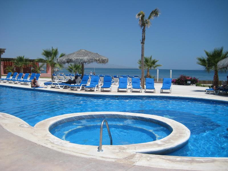 Hotel swimming pool, one of two less than 2 minutes away