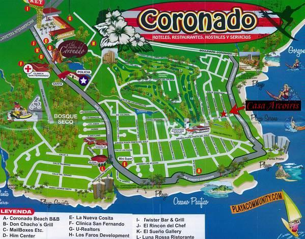 Map of Coronado and the EXACT location of our home nestled among the MILLION dollar mansions!