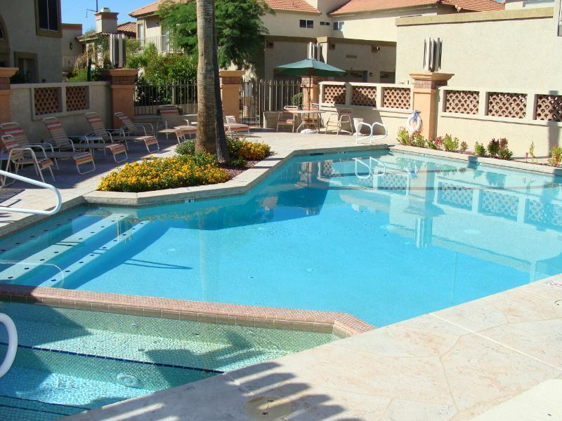 each pool has bb q grills and bathrooms /showers