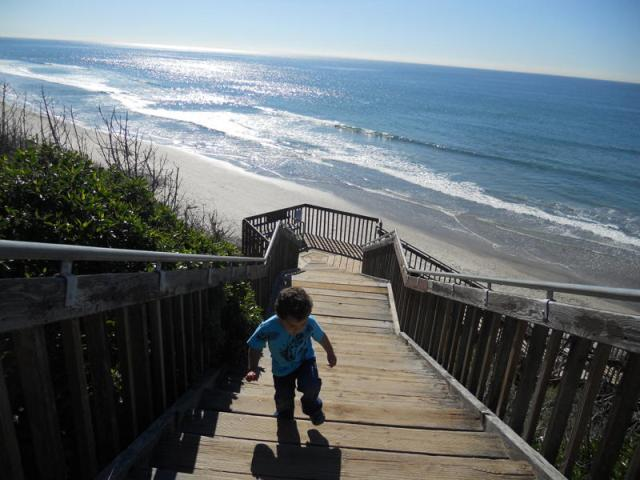 Stairway to the beach (our 2 year old son)