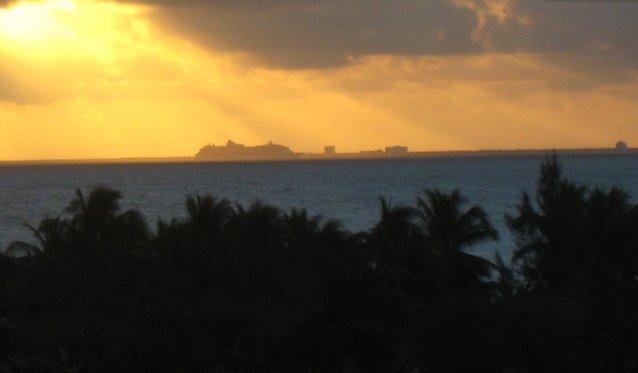 Amazing sunrise over Cozumel