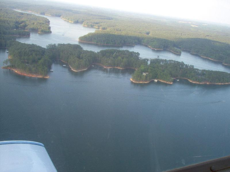 view of dock from the air (center of shoreline)