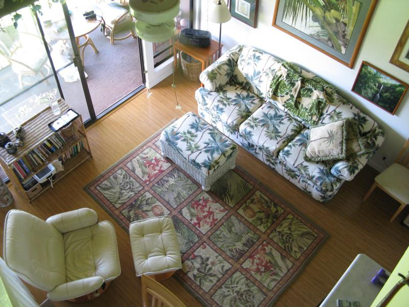 view from loft into living room