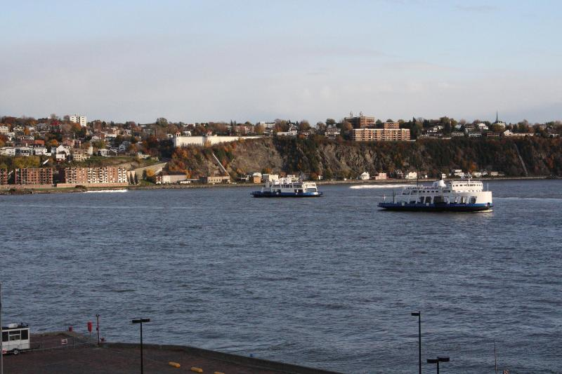 View from the window of this condo looking out at the Quebec-Levis ferry