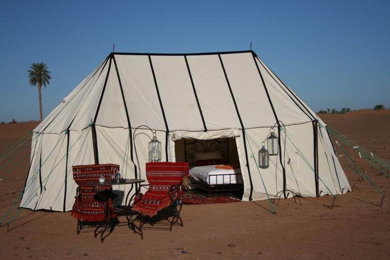 One of the twin-bedded caidal safari tents