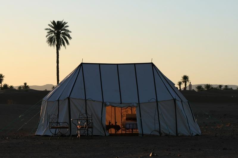 Sunset over a sleeping tent