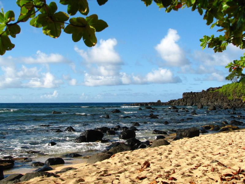 Secluded Pu\'u Po\'a beach, across the street and down a path - a 5-minute walk out your front door!