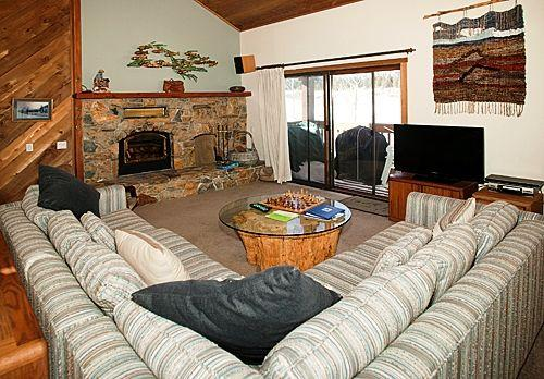Snowcreek #418 (Phase 3) - Living room with fireplace and TV