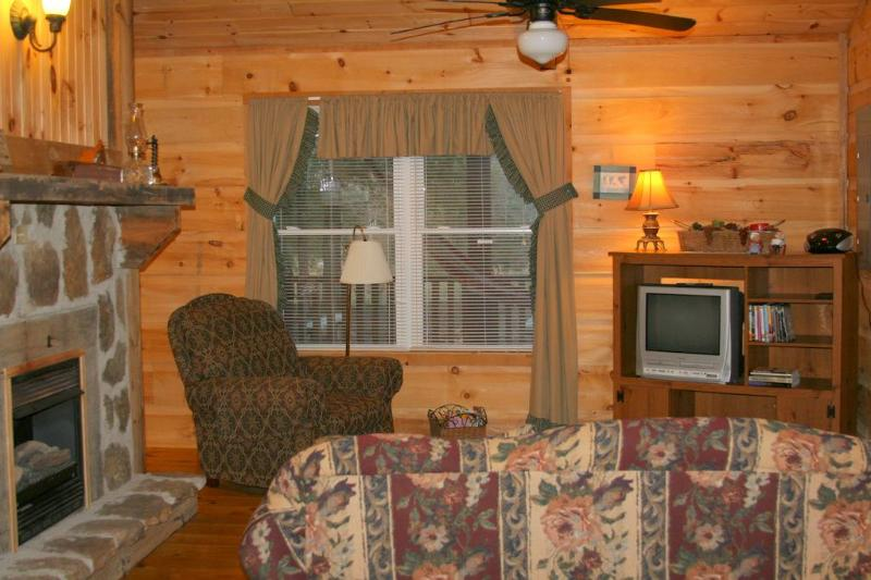 cozy and comfortable livingroom in romantic TN cabin rental