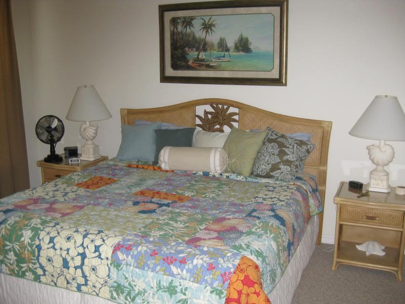 Master bedroom with king bed.  Master bath has two sinks and walk in shower
