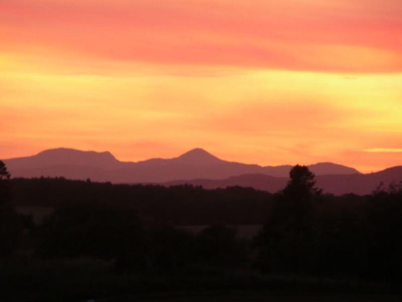 See stunning sunsets over Ben Vorlich and the Crieff Hills in the West.