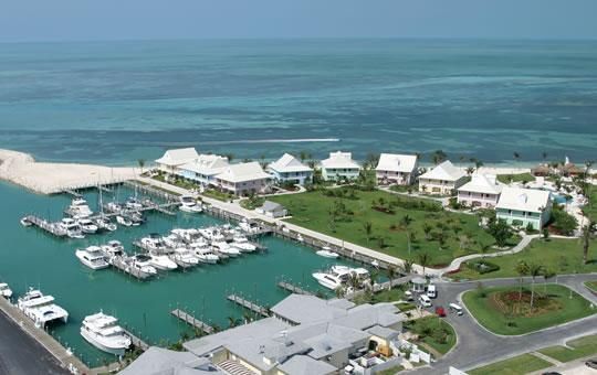Aerial view of resort and marina with our cottage in the middle