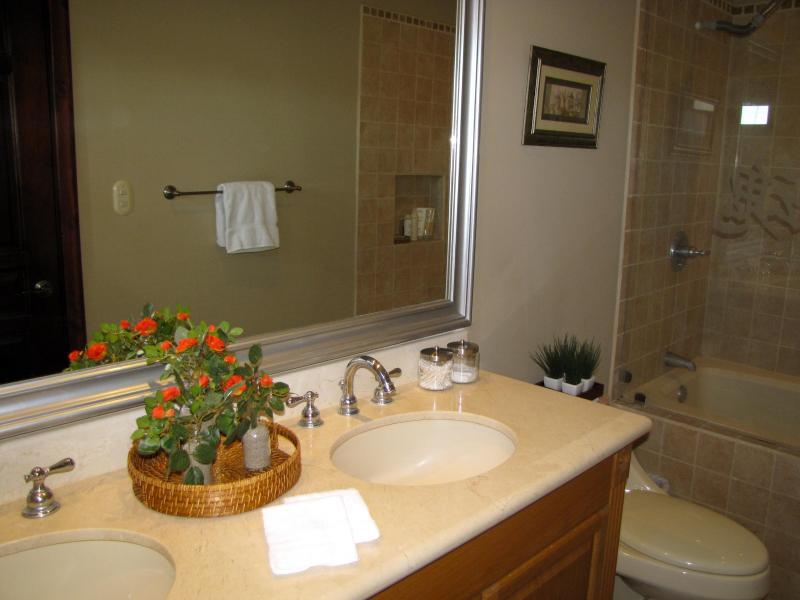 Salle de bain principale avec bain à remous & double vasque