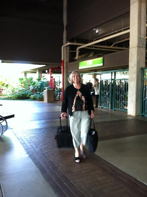 Sally Sellar Reed arriving in Lihue
