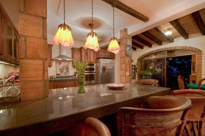 Kitchen is a great place to hang out, make delicious dinners, watch satellite TV and relax.
