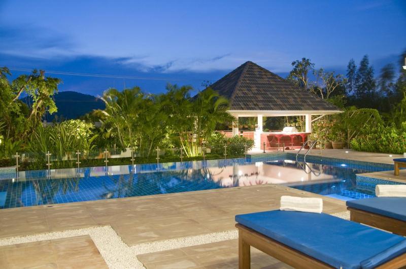 12 metre pool with infinity edge with BBQ sala situated over a Koi pond