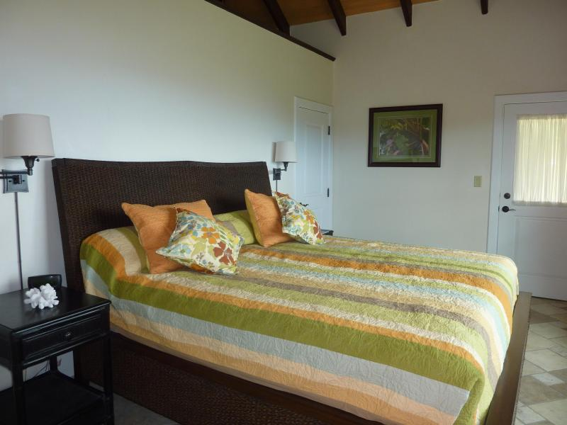 The cabana bedroom has a king bed.  Each bedroom is air conditioned.