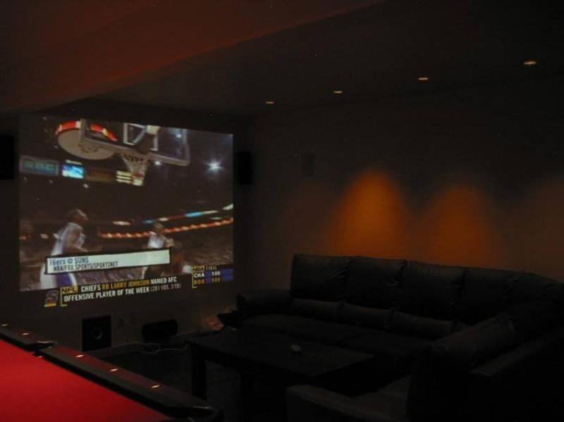 Media room with approx 10 ft viewing and pool table