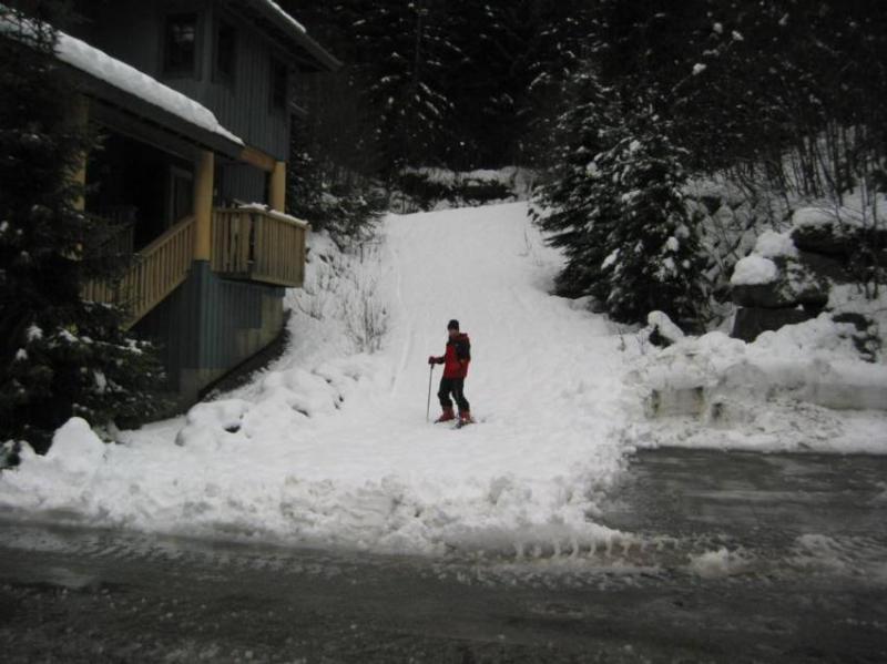 Ski in across street