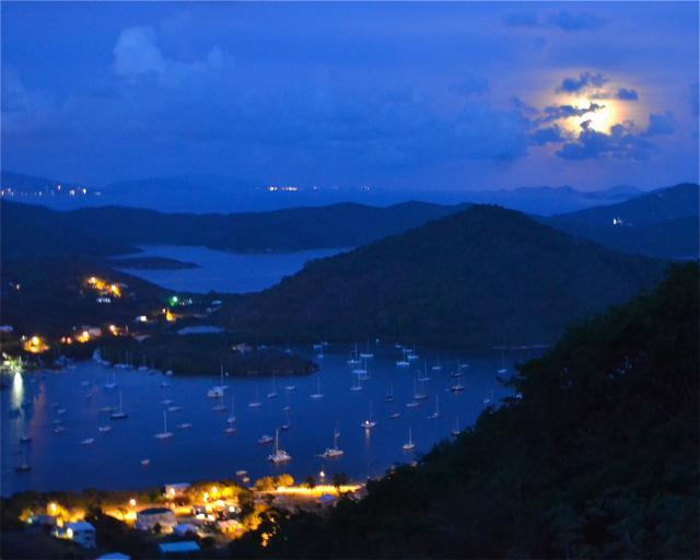 Watch the full moon rises over Coral Bay from Stonegarden Cottage, St. John Rental