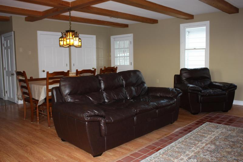 Living room with leather sofa and love seat