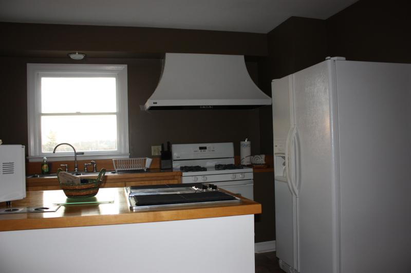 fully stocked  kitchen with gas stove, side by side refrigerator, island grill and dish washer