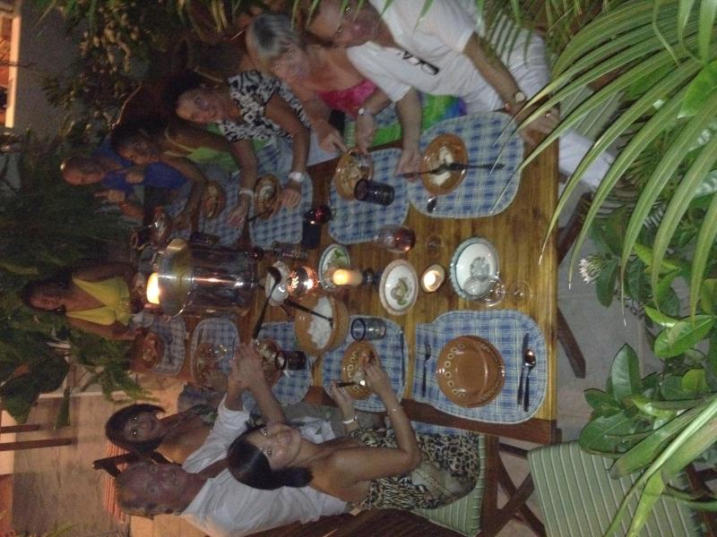 A littel dinner party in the courtyard at night