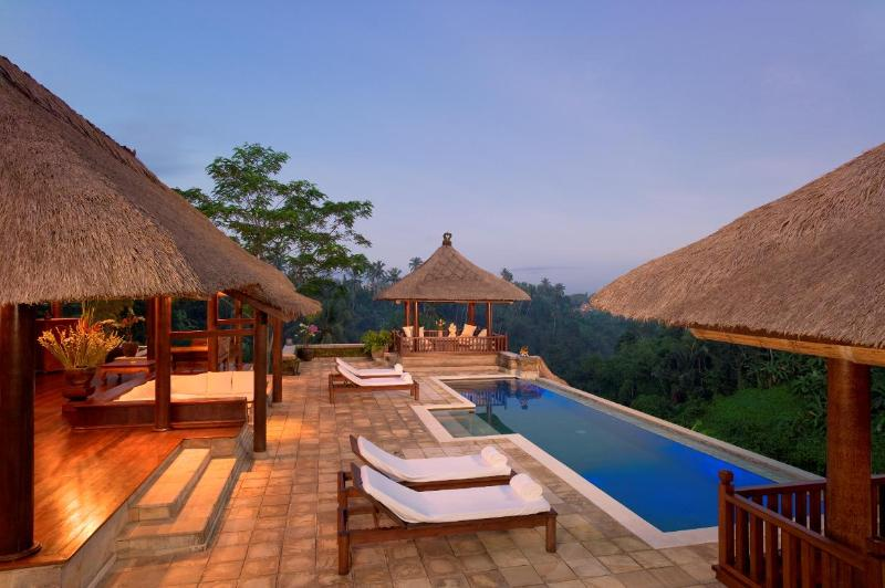 Villa Santai Ubud View of Pavilion, Patio, Massage Bale, and Pool