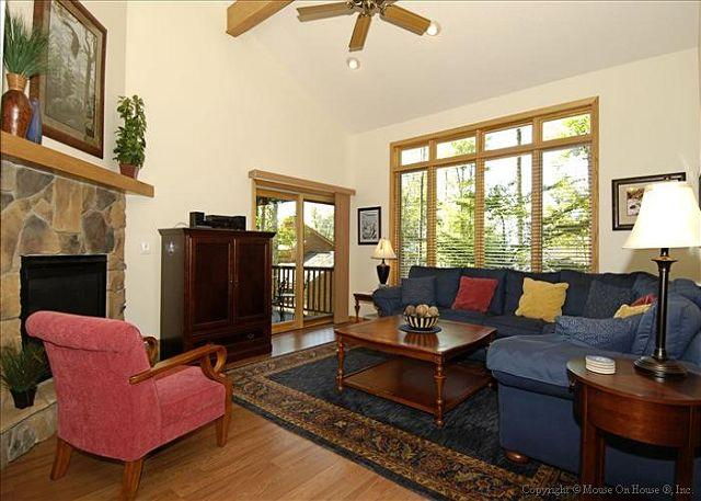 Exquisite and comfortable living room with gas fireplace.