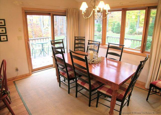 Family style dining with seating for eight.