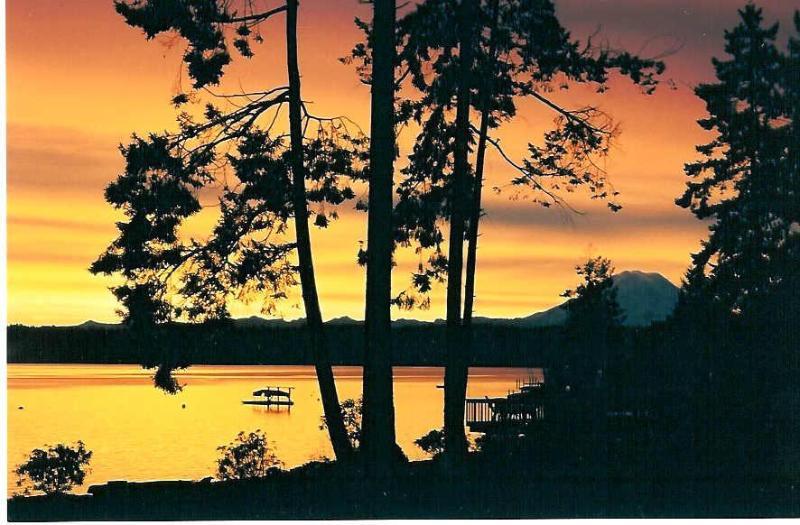 Soluppgång över Puget Sound med Mt. Rainier i fjärran