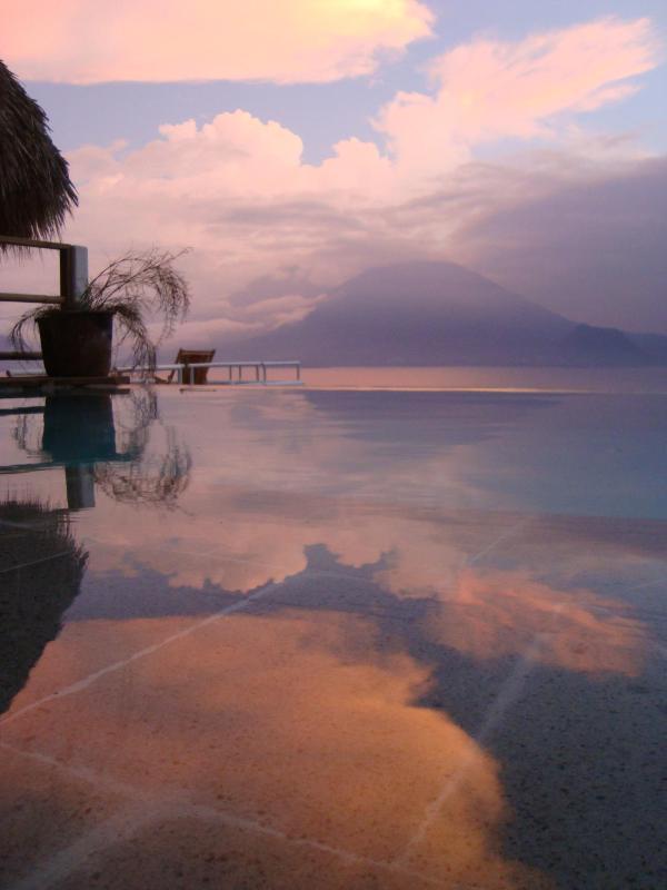 Swimming pool at sunset..