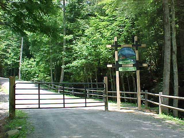 Fall Creek Cabins Gated Entrance