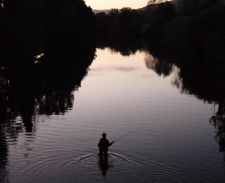 A fisherman on The River Usk at Crickhowell