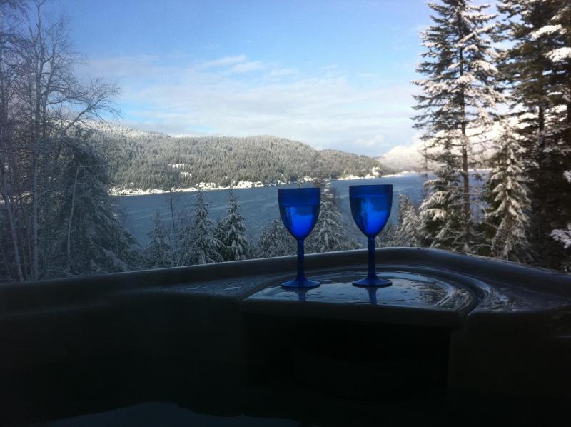 View from covered hot-tub, Kootenay Lake