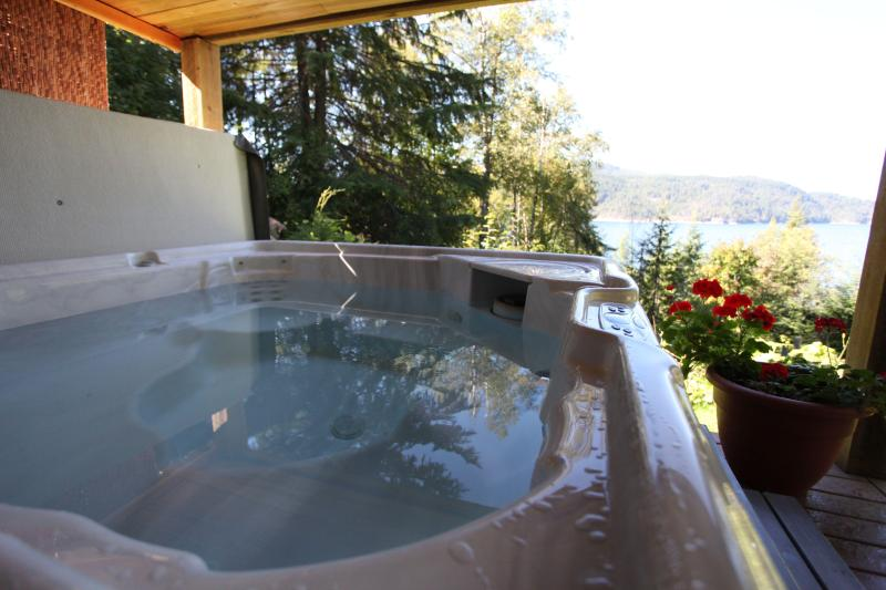 Covered hot-tub with lakeview