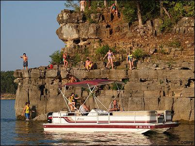 Enjoy cliff jumping renting our deck boat