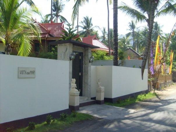 Fence built around the coconut tree.