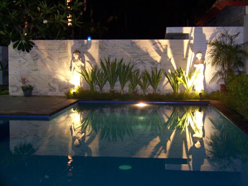 Tropical evening enjoy the pool.