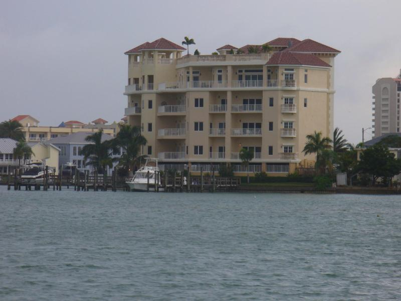 Exterior view from across the water