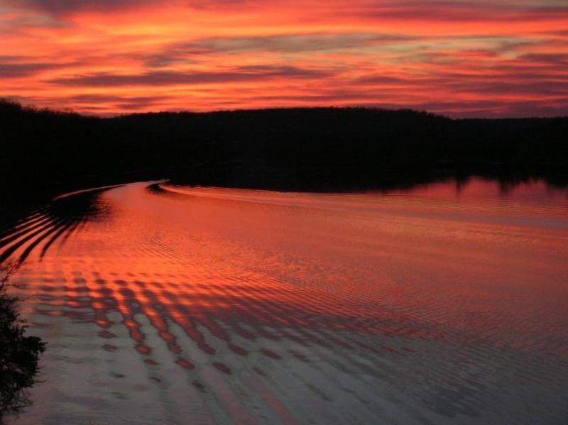 Sunset foto nemen van het bovendek in de herfst