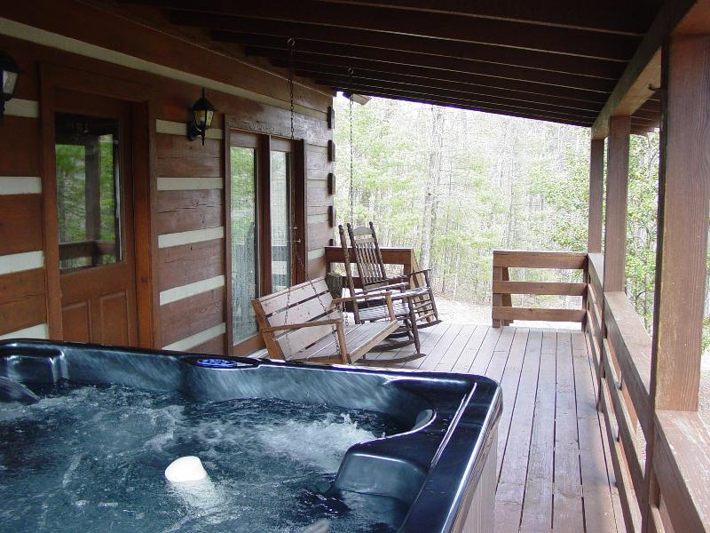 Covered Porch with Swing, Rocking Chairs & Hot Tub